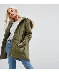 Noisy May Petite - Green Parka Jacket With Faux Fur Trim Hood - Lyst