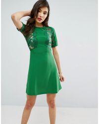 ASOS - Green Lace Insert Shift Mini Dress - Lyst