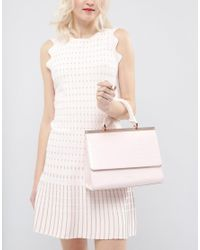 Ted Baker Pink Textured Bar Top Handle Tote