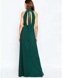 ASOS Blue Halter Plunge Maxi Dress With Embellished Waist
