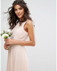 TFNC London - Pink Wedding Pleated Midi Dress With Lace Inserts - Lyst