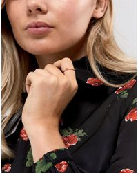 ASOS - Metallic Rose Gold Plated Sterling Cat Ring - Lyst