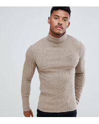 e0dc8f2eff214a Siksilk - Natural Knitted Roll Neck Sweater In Camel Exclusive To Asos for  Men - Lyst