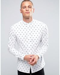 ASOS White Asos Skinny Shirt With Grandad Collar & Checkerboard Print for men