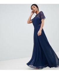 Vestido maxi con paneles de encaje de ASOS DESIGN Petite ASOS de color Blue
