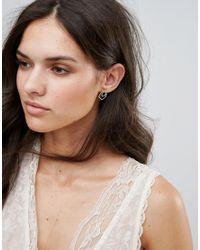 Orelia - Metallic Abstract Front And Back Rhinestone Earrings - Lyst
