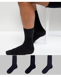 AllSaints Blue Breton Socks 3 Pack for men
