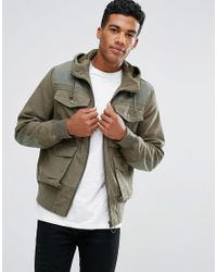 ASOS Green Bomber Jacket In Ripstop With 4 Pockets Hood In Khaki for men