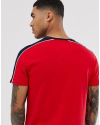 Abercrombie & Fitch Red Logo Shoulder Taping T-shirt for men