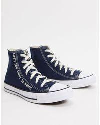 Высокие Кеды Из Переработанных Материалов С Принтом Chuck Taylor All Star Renew-черный Converse, цвет: Blue