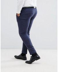 ASOS Asos Plus Wedding Super Skinny Suit Trousers In Blue Micro Check for men