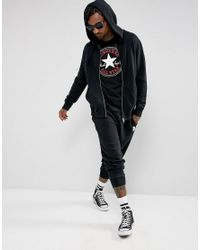 Converse | Essentials Luxe Zip-up Hoodie In Black 10000655-a01 for Men | Lyst