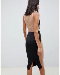 Robe mi-longue moulante en tulle avec découpes et barre dorée ASOS en coloris Black