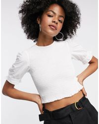ONLY White Shirred Top With Puff Sleeves