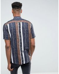ASOS Blue Tall Viscose Regular Fit Printed Stripe Shirt for men