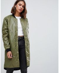 Minimum Green Quilted Longline Bomber