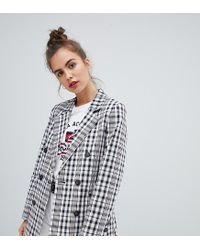 Pull&Bear Tailored Double Breasted Blazer In Gray