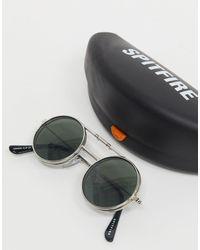 Lennon - Occhiali rotondi con clip argento con lenti verdi di Spitfire in Metallic