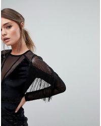 Boohoo Black Sequin And Velvet Tasselled Bodycon Dress