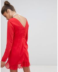 PRETTYLITTLETHING - Red Exclusive Chiffon Ruffle Detail Dress - Lyst