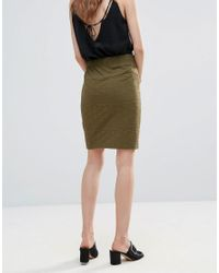 Ichi - Green Textured Skirt - Lyst