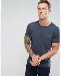 French Connection Blue T-shirt With Military Flap Pocket for men