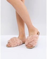8d7cf8e249a Women's Joni Pink Shaggy Cross Strap Slides