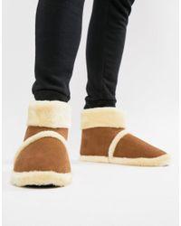 Dunlop Brown Sheepskin Boot Slipper for men