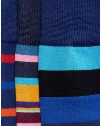 Paul Smith Blue Stripe Socks 3 Pack for men