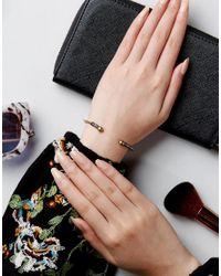 ASOS - Metallic Etched Open Cuff Bracelet - Lyst