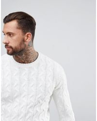 Bershka - Chunky Cable Knit Sweater In White for Men - Lyst