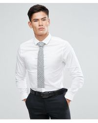 ASOS - Skinny Shirt In White With Gray Design Tie Save for Men - Lyst