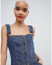 Liquor N Poker Blue Denim Button Through Mini Dress