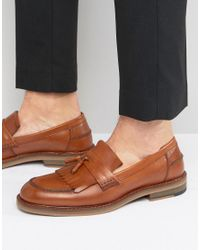 ASOS - Brown Smart Loafers In Tan Leather With Fringe Detail for Men - Lyst