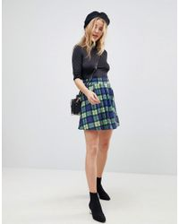 ASOS - Blue Asos Mini Skirt With Box Pleats In Check - Lyst