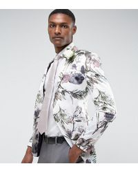 ASOS White Tall Wedding Super Skinny Blazer With Watercolor Floral Print for men