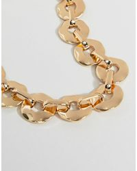 ASOS - Metallic Statement Necklace With Hammered Link Chain In Gold - Lyst