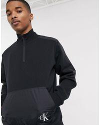 Calvin Klein Black Mix Media Half Zip for men