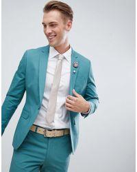 Chaqueta de traje ajustada de algodón elástico en verde pino ASOS de hombre de color Green