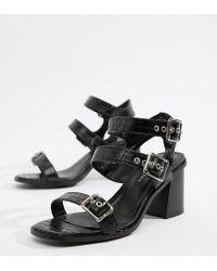 New Look Black Croc Multi Strap Heeled Sandal