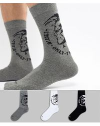DIESEL Multicolor 3 Pack Socks In Gift Box for men