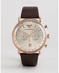 Emporio Armani - Ar11106 Chronograph Leather Watch In Brown 43mm for Men - Lyst