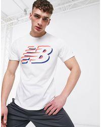 Белая Рубашка С Графическим Логотипом Из Технологичной Ткани Running-белый New Balance для него, цвет: White