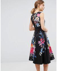 Oasis Black Floral Embroidered Midi Skater Dress