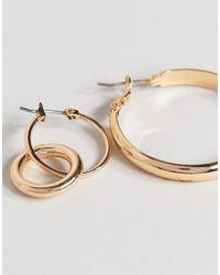 ASOS - Metallic Pack Of 2 Flat Hoop And Drop Earrings - Lyst