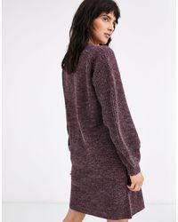 Vestido estilo jersey con cuello en V Ichi de color Purple