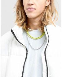 ASOS - Metallic Double Layer Neckchain With Fluro Yellow Finish for Men - Lyst