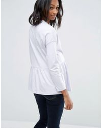 ASOS Blue Top With Exaggerated Ruffle Hem And Long Sleeve
