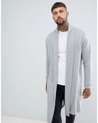 d55588ee60b ASOS Jersey Cardigan With Shawl Neck In Gray in Gray for Men - Lyst