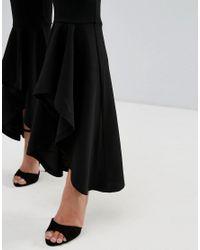 PRETTYLITTLETHING Black Extreme Frill Hem Pants